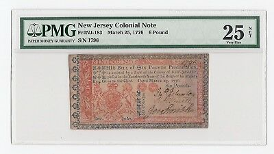 New Jersey Colonial Note Fr#NJ-183 March 25, 1776 6 pound (PMG) 25 Very Fine