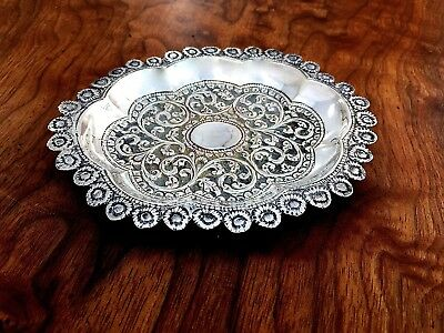 Asian Silver Pin Tray with Elaborate Repoussé Floral Decoration No Monogram