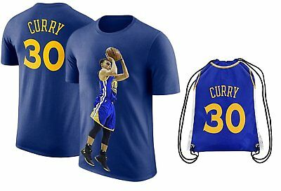 Steph Curry Jersey Style T-shirt Kids Curry Blue T-shirt Gift Set Youth Sizes...