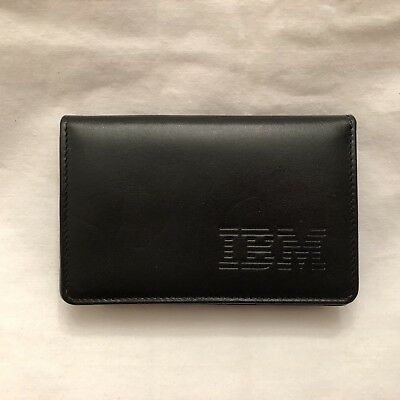 IBM Logo Credit / Business Card Black Leather Case with 2 Sections - One expands