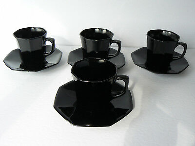 MINT Set of 4 Vintage Arcoroc OCTIME Coffee Cup / Saucer Sets France - Retired