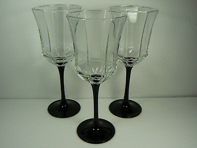 Set of 3 Vintage Arcoroc OCTIME 10 oz Water Goblets France - Retired MINT