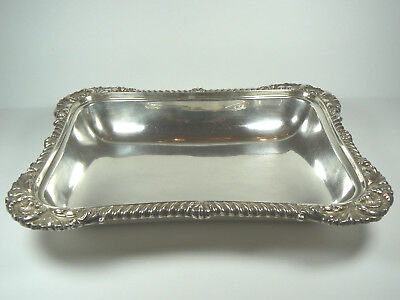"Vintage Silverplate Serving Tray 12"" x 9"" x 1.75"" 1 QT"