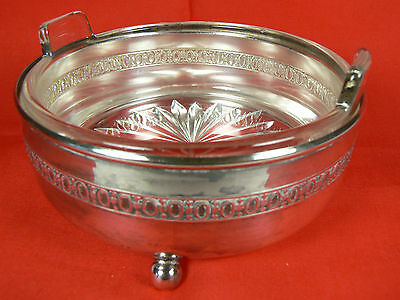Monarch Plate Brand Ball-footed Silver Caddy w Clear Glass Handled Dish