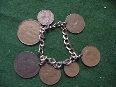 Vintage Coin Bracelet, Made with 7 British Coins,Circulated, Copper