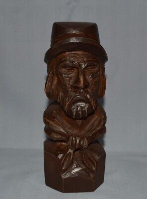 """Wood Carving Of An Old Bearded Miner Wearing His Hat Scarf Around Neck 7"""" Tall"""