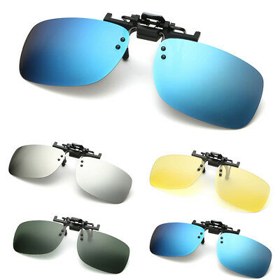Polarized Clip On Flip Up Sunglasses Shades Clip for Myopia Glasses Unisex