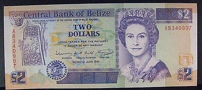 1991 Belize, Central Bank of, $2 Dollars, Unc. Note Nice** FREE U.S. SHIPPING **
