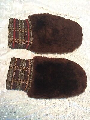 Vintage Sheared Beaver Fur & Leather Mittens Warm Great Lodge Display Pieces!