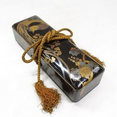 B926: Japanese old lacquered letters box FUBAKO with good MAKIE of phoenix. 2