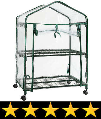 DOEWORKS 2 Tier Mini Portable Plant Greenhouse with Clear Cover, Indoor Outdoor