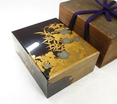 D036: High class Japanese old lacquer ware box with fantastic MAKIE, NASHIJI
