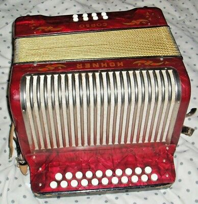 Hohner Corso Accordion German Made Stamped C/f Good Clean Condition Works Ok