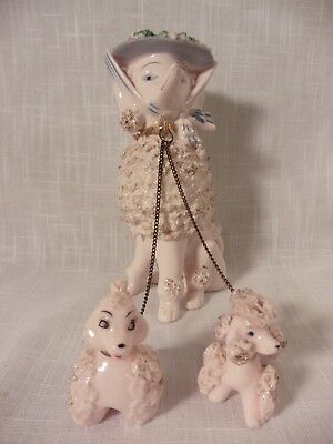 Vintage Ceramic Spaghetti Poodles Pink Dog With 2 Pups~