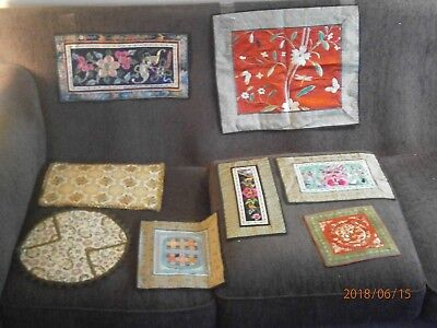 Vintage lot : tapestries, table / nightstand runner, placemat, embroidered art