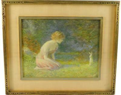"William Baer (American, 1860 - 1941), ""Young Girl With a Rabbit"", pas... Lot 130"