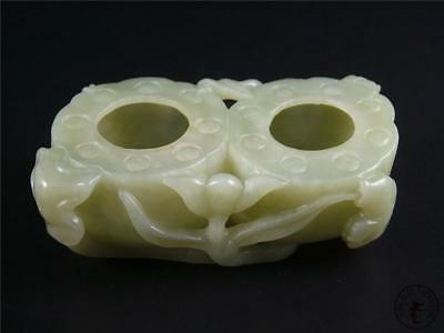 Old Chinese Celadon Nephrite Jade Brush Washer Statue Top Quality Fish at Side