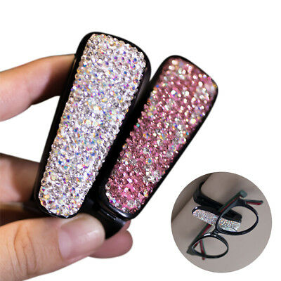 Rhinestone Inlaid Car Sunroof Visor Sunglasses Glasses Holder Card Bill Clamp