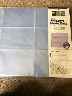 Photo Album Sleeves. 6-4x6 Inch Pockets Per Page Double Sides. 10 Per Pack. New