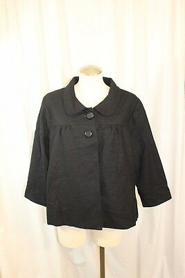 Motherhood Maternity Black Wool Blend 2-Button Coat Size L Fully Lined