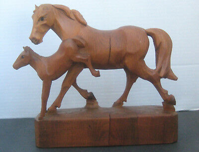 """Mare & Foal Pony Carved Wood Statue Figurine 8-1/2"""" Tall"""