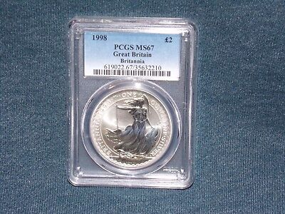 "1998 PCGS MS67 GREAT BRITAIN BRITANNIA £2 TWO POUND SILVER 1OZ  "" First Year """