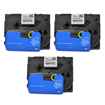 3x Black on White TZ221 Label Tape Labeling Cassette for Brother P-Touch HS1164