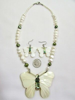 Lee Sands Mother of Pearl Butterfly w Cultured Freshwater Pearls NK & Er set
