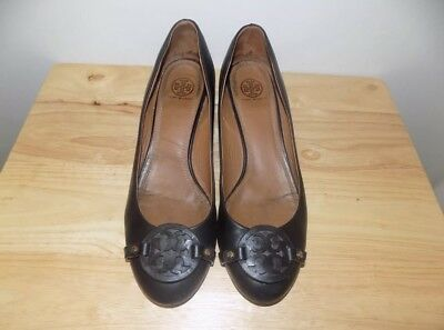 de43e9ab5 Tory Burch Miller Shoes Wedge Heels 10 Black Leather Lovely Very Good  Condition