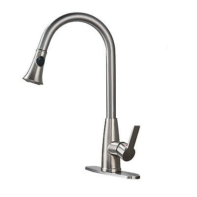 Brushed Nickel Kitchen Sink Faucet Pull Out Sprayer Mixer Tap With Cover Plate