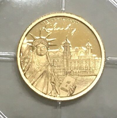 2017 Solid 14k Gold .5gram Proof Statue Of Liberty Gold Coin w/COA...Lot#118A