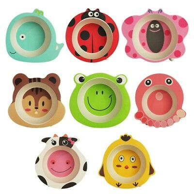 Children No-spill Bowl Baby Training Feeding Dish Tray Cute Cartoon Animal Bowl