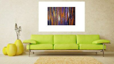 Poster print aboriginal inspired purple sunset Australia art by jane crawford