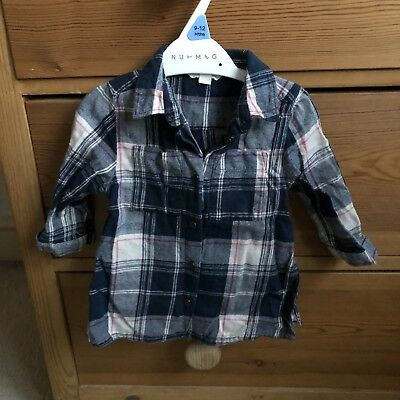 Girls River Island Side Split Check Shirt Size 3-6 Months