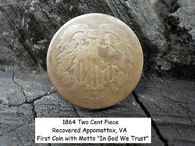 Old Vintage Antique Civil War Relic Very Rare 1864 Two Cent Piece Limited Coin