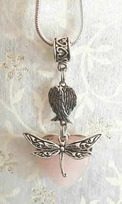 Dragonfly Angel Wings Pendant With A Rose Quartz Heart Gemstone On 50Cm Necklace