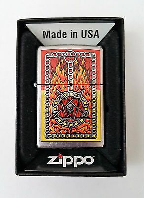 Zippo Lighter Gothic Burning Chain with Skull 2008 New in Decorator Box