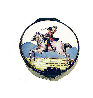 18th or Early 19th Century Enameled Battersea Patch Box, Swordsman on Horse