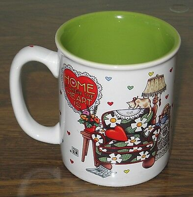"Charming Mary Engelbreit ""Home Is Where the Heart Is"" Mug - Mint Condition"