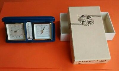 Vintage Europa Travel Alarm Clock with Barometer & Thermometer - 7 Jewels - Rare