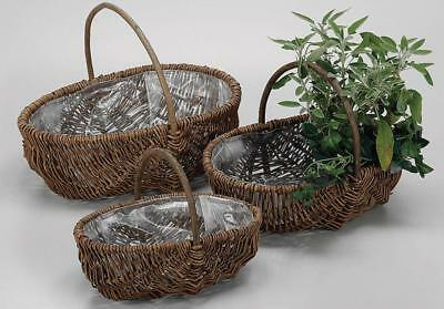 G2195: 3 Plant Basket, Box 3 Set from Pasture and Wooden Frame, Flower Baskets