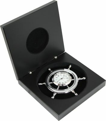 G3016: Maritime Chromed Watch in the Steering Wheel in Precious Wooden Box,