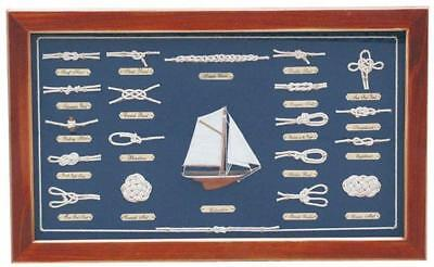 G4115: Nodes Table in Flat Display Case with Sailing Yacht, Brass Signs English