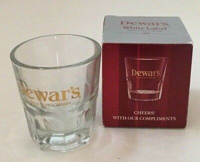 Dewars White label Blended Scotch Whiskey Large Shot Rocks Glass New Box