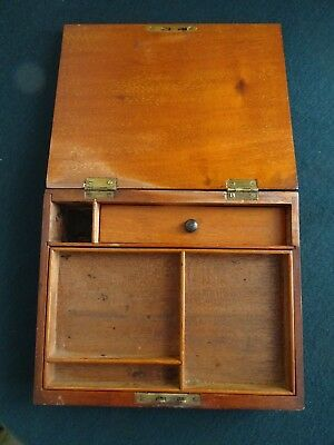 Antique/vintage Small Hinged Compartments Letter Writing Stationery Wooden Box