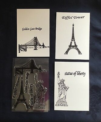 Eiffel Tower/Statue of Liberty/Golden Gate Bridge/Clear /UNMOUNTED/stamp /SET