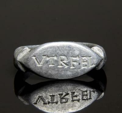 Roman silver ring inscribed with fortune inscription 2nd-3rd century AD.