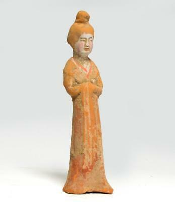 Chinese Tang dynasty pottery statuette of a lady; 7th-8th century.