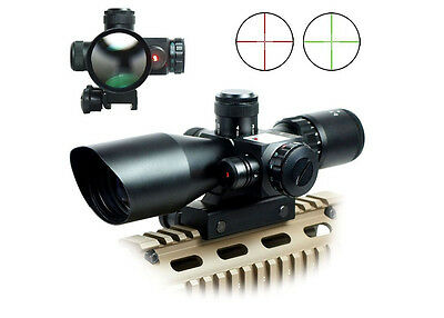 Tactical Rifle Scope 2.5-10x40 Mil-dot Red Green illuminated w/ Laser Mount