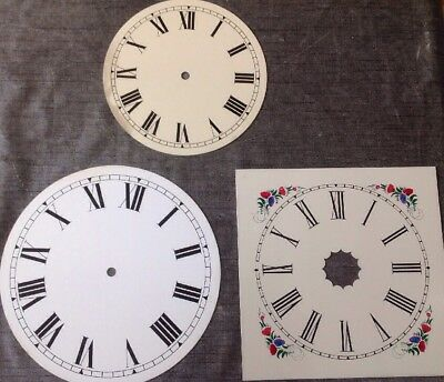 Three Vintage Clock Dials Metal 24cm Square 25cm 20cmm Diameter Round